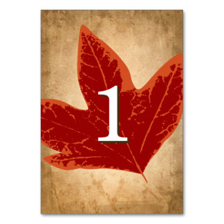 Red Autumn Leaves Table Numbers | Fall Wedding Table Cards
