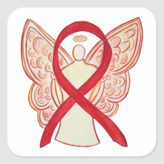 Red Awareness Ribbon Angel Art Decal Stickers