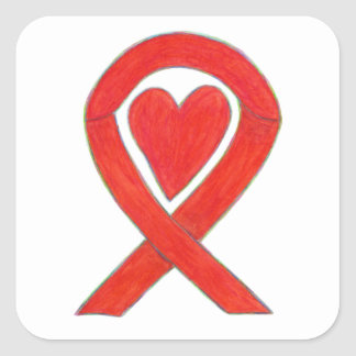 Red Awareness Ribbon Heart Art Decal Stickers