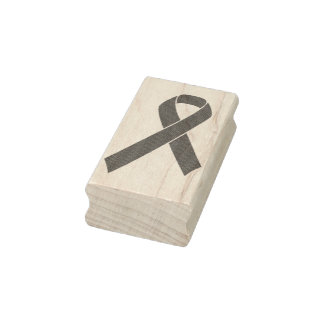 Red Awareness Ribbon + your message Rubber Stamp
