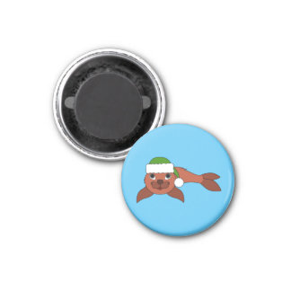 Red Baby Seal with Christmas Green Santa Hat 1 Inch Round Magnet