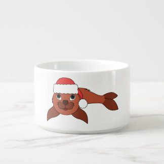 Red Baby Seal with Christmas Red Santa Hat Chili Bowl