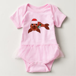 Red Baby Seal with Santa Hat & Silver Bell Baby Bodysuit
