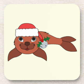 Red Baby Seal with Santa Hat & Silver Bell Coaster