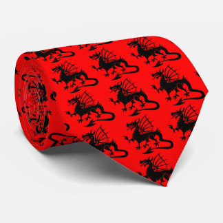 Red Background Black Welsh Dragon Silhouette Tie