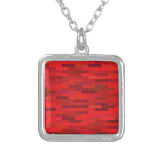 Red background silver plated necklace