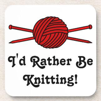 Red Ball of Yarn & Knitting Needles Beverage Coaster