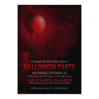 Red Balloon Scary Halloween Party Invitation