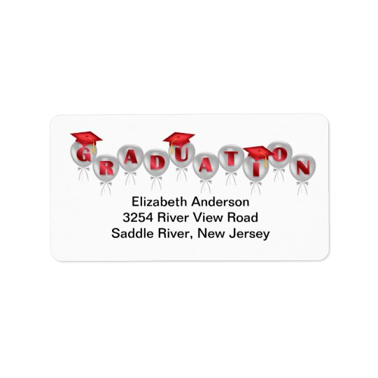 Red Balloons Graduation Address Labels
