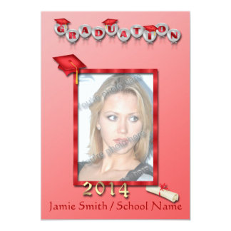 Red Balloons Photo Graduation Party Invitations