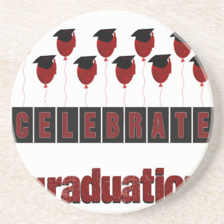 Red Balloons wearing Graduation Caps, Celebrate Gr Beverage Coaster