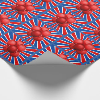Red Balloons with Patriotic Sun Burst Wrapping Paper