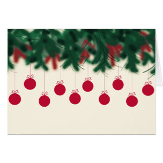 Red balls hanging from Christmas tree Card