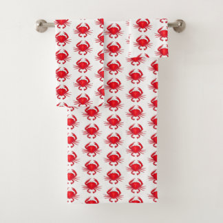 Red Baltimore Maryland Crab Beach Ocean Seafood Bath Towel Set