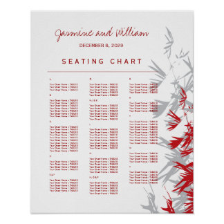Red Bamboo Leaves Chinese Wedding Seating Chart Poster