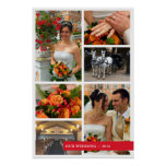 Red band 6 multi photo collage memories keepsake poster