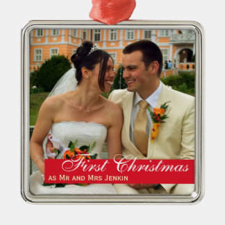 Red band couple first Christmas square photo Silver-Colored Square Ornament