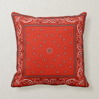 Red Bandana 3 Throw Pillow