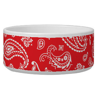 Red Bandana Paisley Pet Food Bowl