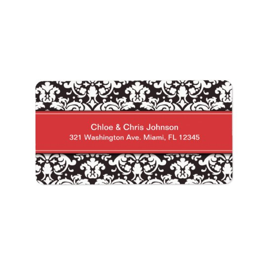 RED BANNER DAMASK | ADDRESS LABELS