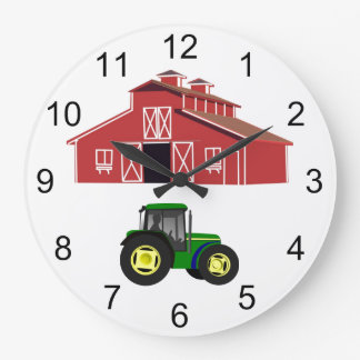 Red Barn and Farm Tractor Country Farmer Large Clock