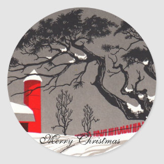 Red Barn and Silo Snow Covered Black Trees Round Sticker