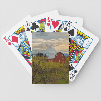 Red Barn at Pear Orchard Oregon Bicycle Playing Cards