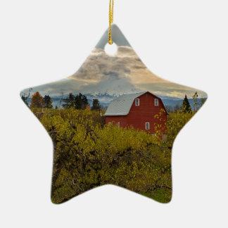 Red Barn at Pear Orchard Oregon Ceramic Ornament