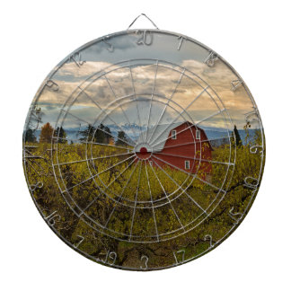 Red Barn at Pear Orchard Oregon Dartboard