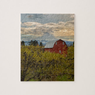 Red Barn at Pear Orchard Oregon Jigsaw Puzzle