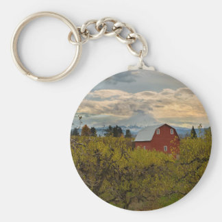 Red Barn at Pear Orchard Oregon Keychain