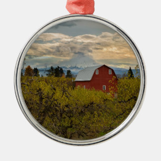 Red Barn at Pear Orchard Oregon Metal Ornament