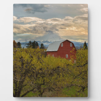 Red Barn at Pear Orchard Oregon Plaque