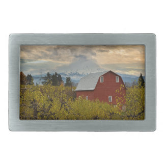 Red Barn at Pear Orchard Oregon Rectangular Belt Buckles