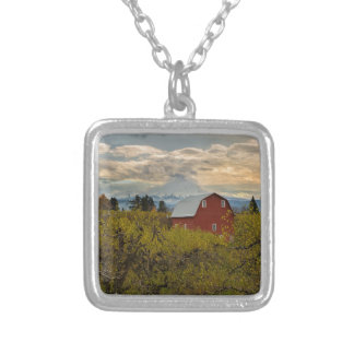 Red Barn at Pear Orchard Oregon Silver Plated Necklace