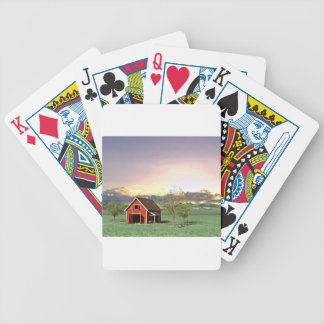 Red Barn at Sunset Bicycle Playing Cards