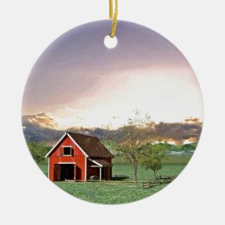 Red Barn at Sunset Ceramic Ornament
