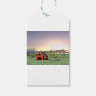 Red Barn at Sunset Gift Tags