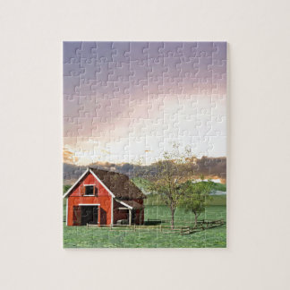 Red Barn at Sunset Jigsaw Puzzle