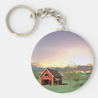 Red Barn at Sunset Keychain