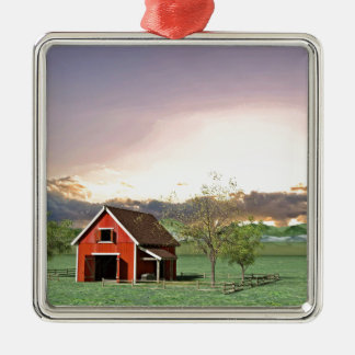 Red Barn at Sunset Metal Ornament