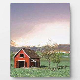 Red Barn at Sunset Plaque