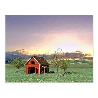 Red Barn at Sunset Postcard