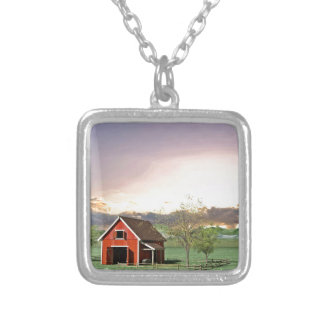 Red Barn at Sunset Silver Plated Necklace