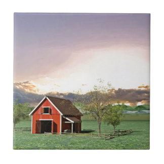 Red Barn at Sunset Tile