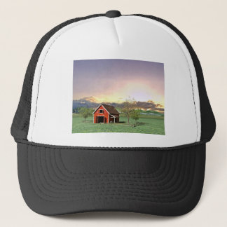 Red Barn at Sunset Trucker Hat