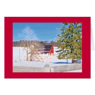 """Red Barn behind Fence on """"National Pike"""" Card"""