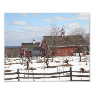 Red Barn Country Scene in Winter Photo Art