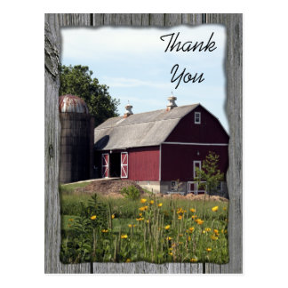 Red Barn Country Thank You Postcard