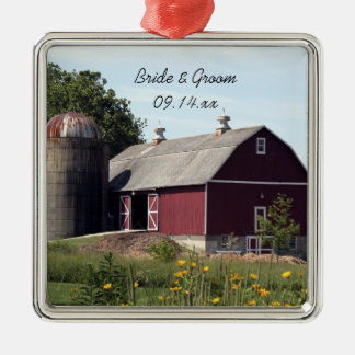 Red Barn Country Wedding Metal Ornament